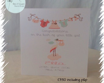 Personalised New Baby Card - Baby Girl - Baby Boy - New Arrival - Printed Card