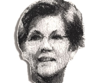 Elizabeth Warren Embroidered Portrait Pin with Leather Backing