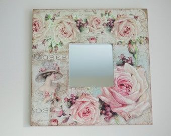Decoupaged wall mirror, Romantic style mirror, Square mirror with roses, Decorative wall mirror