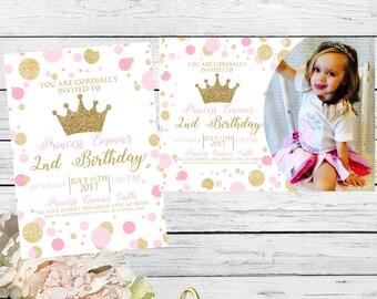 Princess Birthday Invitation Pink and gold glitter add a photo option ****digital file *** DIY Print (Princess-Polkapic)