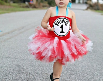 Thing 1 or Thing 2 Tutu Dress- 0-6 Years- Red, Turquoise Blue, and White, with Matching Headband Hair Option, Dr. Seuss Theme Party