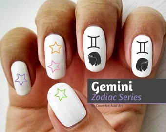 Gemini Zodiac - Water Slide Nail Decals