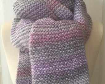 Grey, Pink & Lilac Ombre Chunky Knitted Scarf