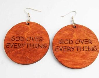 God Over Everything Cute Earrings Wooden Jewelry Christian Earrings God faith earrings Wood circle earrings Natural earrings