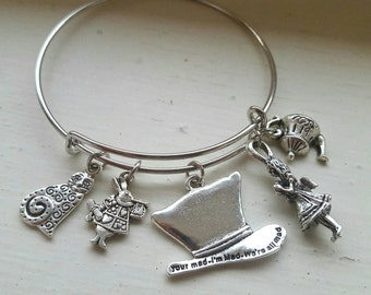 Alice in Wonderland Tibetan Silver Bangle Charm Bracelet