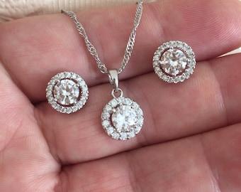 Wedding Jewelry Sets, Crystal Wedding Necklace Set, bridal jewelry set, wedding jewelry set, bridesmaid jewelry set, Zirconia jewelry set