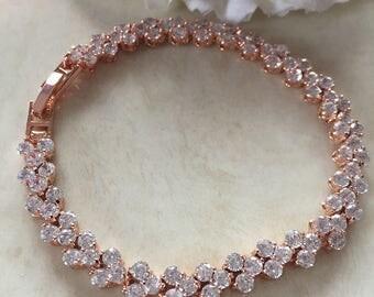 rose gold bracelet , bridal bracelet bridesmaid bracelet wedding bracelet wedding jewelry bridal jewelry zirconia braclet jewelry bride