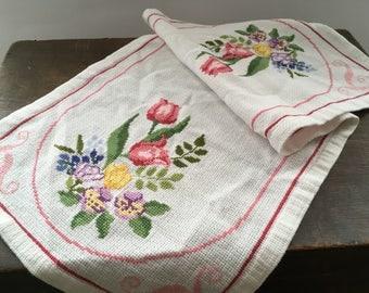 Vintage Swedish table runner Floral runner White floral embroidered runner Cross stitched runner Cottage table runner
