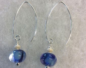 Blue swirl lampwork sterling silver earrings.