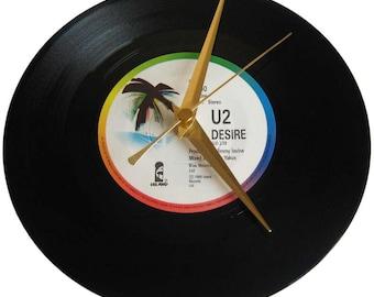 U2 Vinyl Record Clock Desire wall decor gift for music fan bono birthday valentine day present girlfriend wife husband boyfriend partner