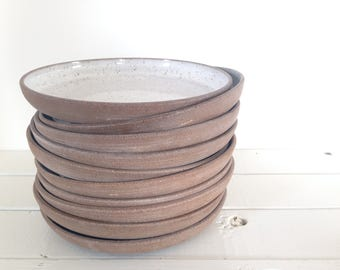 Handmade Pottery White Stoneware Pasta Plate