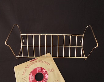 Record Rack Mid Century - Golden Metal Table Top Record Holder 45's Retro - Vintage Office Desk Storage