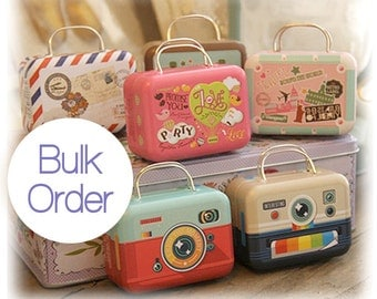 100 Mini Suitcase Tins - Miniature Luggage Collectibles II -  Gift Packaging Containers - Party Wedding Favors