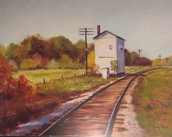 ORIGINAL ARTWORK, art print, Terre Haute Indiana, train station, railroad art, railway art, Indiana artist, landscape print, country art
