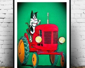 Farm Help!  Border collie driving a vintage tractor art print