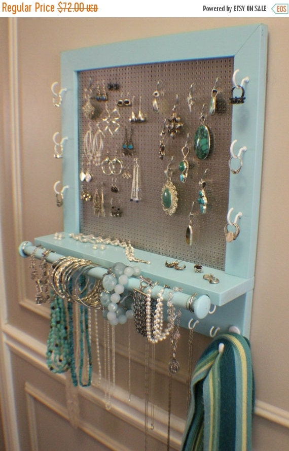 On sale beautiful turquoise wall mounted jewelry by for Bangle organizer diy