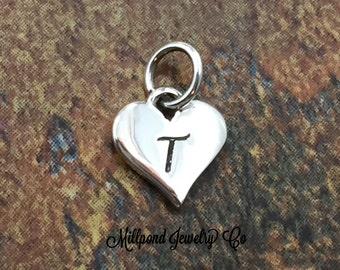 Initial Charm, Letter Charm, T Charm, Letter T Charm, Heart Letter Charm, Alphabet Charm, Sterling Silver Charm
