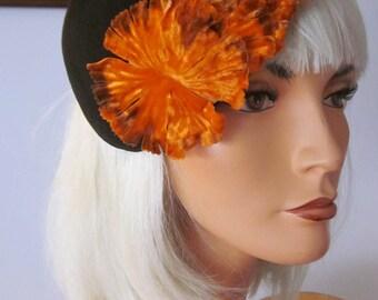 1950,s dk brown felt caplet with fabulous orange velvet trim