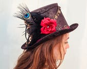 Steampunk Gypsy Hat, Man tribal Festival Hat, mad Hatter, Steampunk Cylinder top hat, Burning Man Hat, Magician Hat, Burlesque Edwardian hat