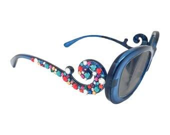 Sunreader Baroque! - Blue (Swarovski Crystal Reader Glasses)
