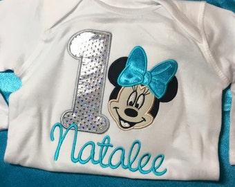Minnie Mouse Birthday Applique Shirt