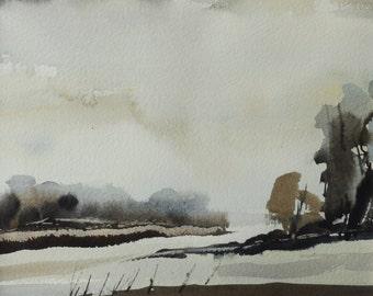 WOOTTON WAWEN, Warwickshire, November 2016. Original Watercolour Landscape Painting.