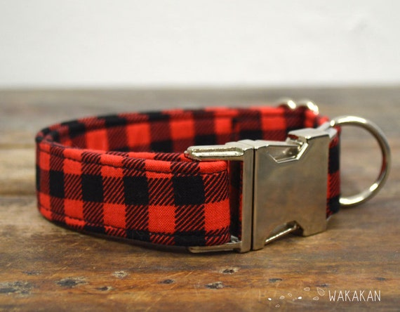Hipster dog collar adjustable. Handmade with 100% cotton fabric. plaid black and red pattern. Punk Wakakan