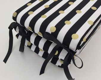 Crib Bumpers - Black and White Stripes with Gold Dots