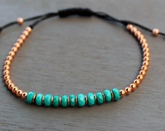 Copper bracelet, turquoise bracelet, turquoise beaded bracelet, boho chic gemstone bracelet, womens bracelet, gift for her,