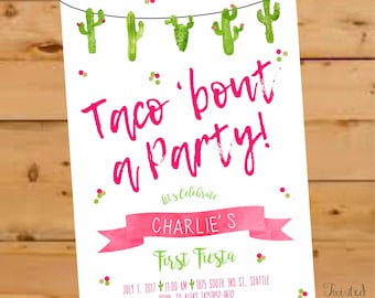 Taco Bout a Party Invitation, Taco Bout a Party Invite, fiesta invitation, Fiesta Birthday Invitation, Cactus Birthday, watercolor, Fiesta