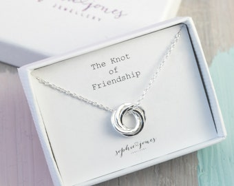 Silver Friendship Knot Necklace -Friendship gift - interlinked rings - entwined rings - silver circles - bridesmaids gift - best friend gift