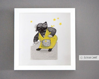 "Original illustration ""Drumming bear"" including frame"