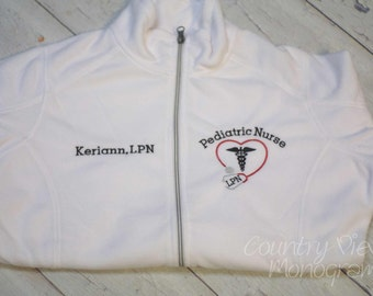 Pediatric Nurse BLOCK Emergency Nurse Fleece Jacket with Name on Right chest-RN zipup light or heavy weight fleece jacket