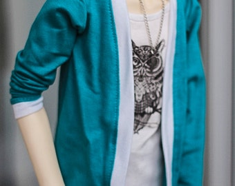 Cardigan Turquoise+White SD13 Boys Girls