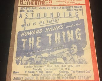 Original 1951 Movie Poster Theatre Herald The Thing, Howard Hawks, The Last Output, President Ronald Reagan, Margaret Sheridan