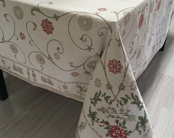 Christmas Tablecloth and Runners, French Jacquard Christmas Tablecloth and Runners