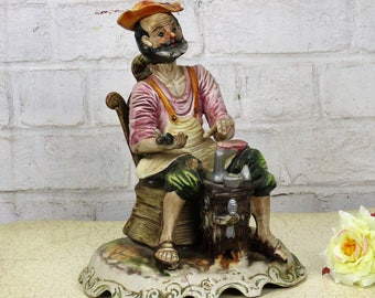 Large Capodimonte Cobbler Figurine Statue Shoemaker Italy Authentic Marked
