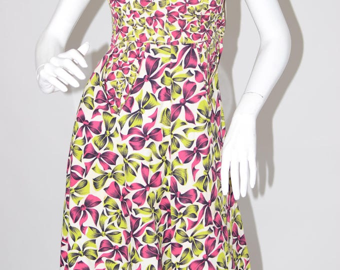 Vintage Estate 1950s Black White Pink Green Bow Novelty Print Day Dress with Pockets