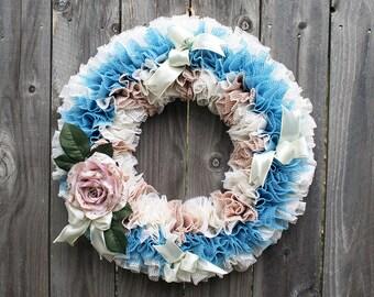 Wedding Wreath, Spring Floral Wreath, Victorian Rose Wreath, Pink & Blue Wreath, Romantic Wreath, Grip Liner Wreath, Front Door Summer Decor