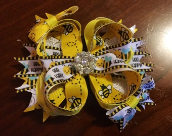 Bumble Bee Boutique Bow, Bumble Bee Bow, Boutique Bow, Yellow & Black Boutique Bow, Birthday Gift, Bee Boutique Bow, Custom Bow