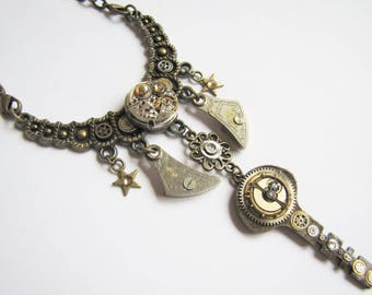 Steampunk Pendant Necklace With Treasure Key & Vintage Watch MovementCPN25