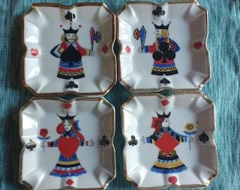 Set of 4 Vintage game of cards ashtrays. Mid century ceramic poker playing card ashtrays set of 4.