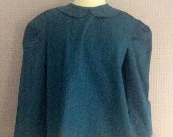 Denim blue peter pan collar button back blouse long sleeves