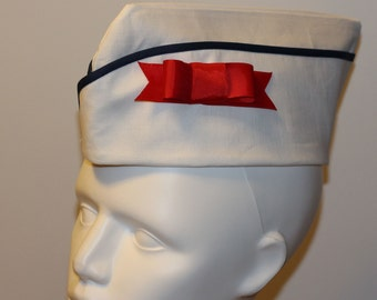 Sailor Cap - Army Hat - Military Cap - Wedge Cap - White Hat - Vintage Style Hat - Pin Up Hat - Pinup Cap - Flight Hat - Garrison Cap