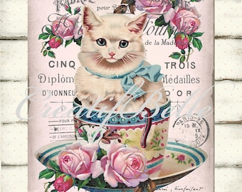 Vintage Shabby Chic Teacup Kitten Instant Digital Download Printable Graphic Transfer Image 0772