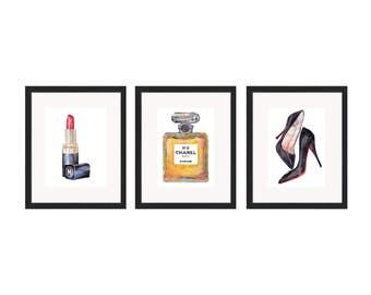 Watercolor Print Chanel Beauty Lipstick, Heels, Perfume Trio Collection