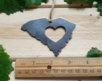 South Carolina State Steel Ornament Rustic Love SC Metal State Heart Host Gift Keepsake Travel Wedding Favor By BE Creations