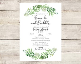 Watercolor Greenery Brunch and Bubbly Bridal Shower Invitation