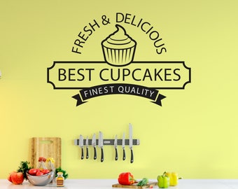 Cupcake Wall Decal, Baking, Free Shipping