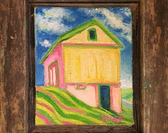 Yellow Barn & Stripes, Small Framed Oil on Canvas